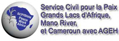 Civil Peace Service (CPS) / BfdW – Mano River Region, DR Congo and Cameroon logo, map of Africa on a globe